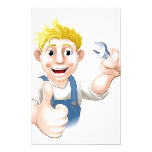 Mecánico o fontanero del dibujo animado con la lla papeleria personalizada