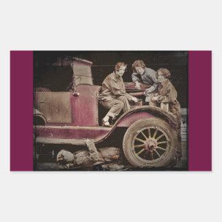 mecánicos de automóviles del chica de los años 20 pegatina rectangular