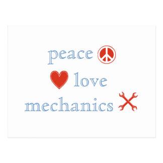Mecánicos del amor de la paz postales