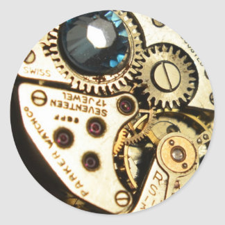 mecanismo de relojería pegatinas redondas