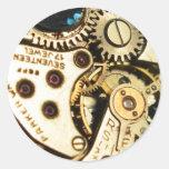 mecanismo de relojería pegatina redonda