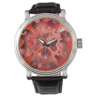 mecanismo rojo relojes de pulsera