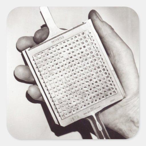 Mecanografíe los bloques pegatina cuadradas