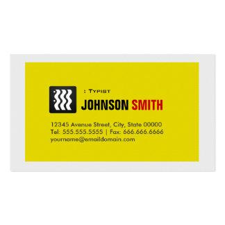 Mecanógrafo - blanco amarillo urbano tarjetas de visita
