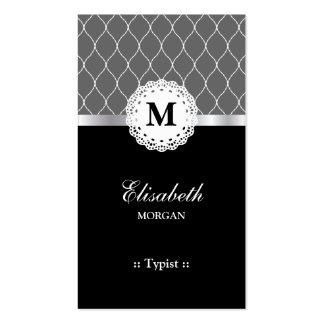 Mecanógrafo - modelo negro elegante del cordón tarjetas de visita