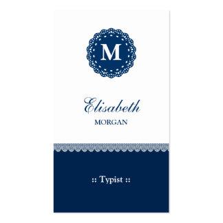 Mecanógrafo - monograma azul elegante del cordón plantillas de tarjetas personales