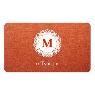 Mecanógrafo - monograma elegante del cordón tarjetas de visita