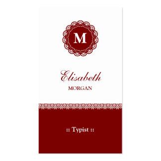 Mecanógrafo - monograma rojo elegante del cordón tarjetas de visita