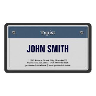 Mecanógrafo - placa fresca del coche tarjetas de visita