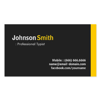 Mecanógrafo profesional - ámbar minimalista modern tarjetas de visita