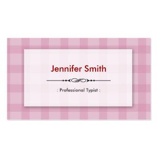 Mecanógrafo profesional - cuadrados rosados bonito plantilla de tarjeta de negocio