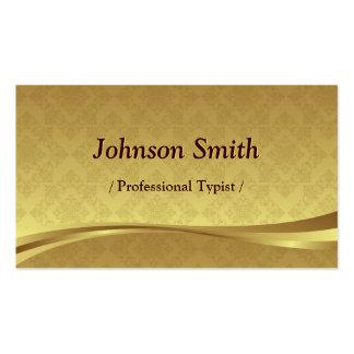 Mecanógrafo profesional - damasco elegante del oro tarjetas de visita