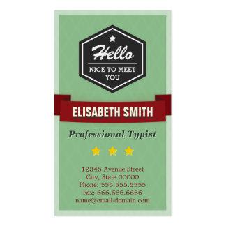 Mecanógrafo profesional - elegante retro del tarjetas de visita