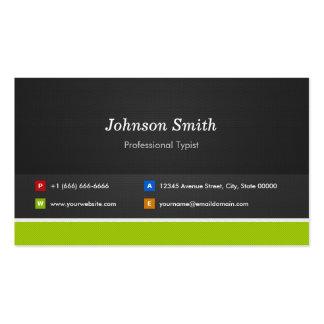 Mecanógrafo profesional - profesional y premio plantilla de tarjeta personal