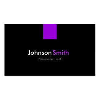 Mecanógrafo profesional - violeta púrpura moderna tarjetas de visita