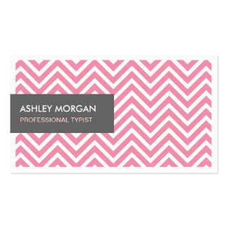 Mecanógrafo profesional - zigzag rosa claro de tarjetas de visita