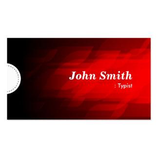 Mecanógrafo - rojo oscuro moderno tarjetas de visita