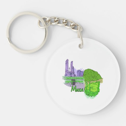 mecca green city graphic travel image.png Double-Sided round acrylic keychain
