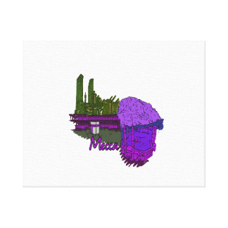 mecca purple city graphic travel image.png stretched canvas print