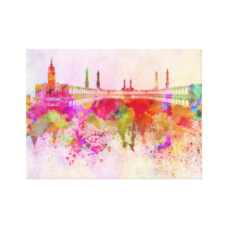 Mecca skyline in watercolor background canvas print