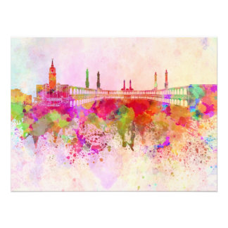 Mecca skyline in watercolor background art photo