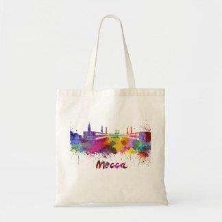 Mecca skyline in watercolor tote bag