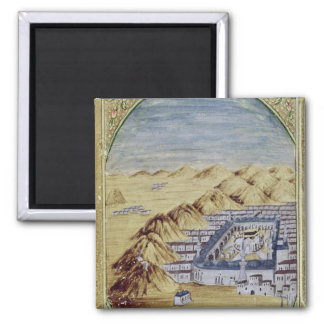 Mecca surrounded by the Mountains of Arafa Fridge Magnets