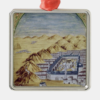 Mecca surrounded by the Mountains of Arafa Metal Ornament