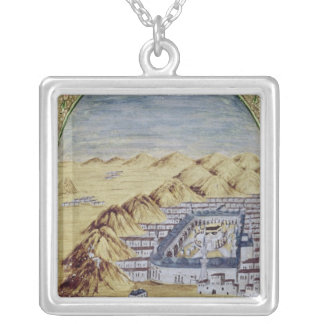Mecca surrounded by the Mountains of Arafa Silver Plated Necklace