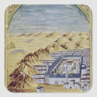 Mecca surrounded by the Mountains of Arafa Square Sticker