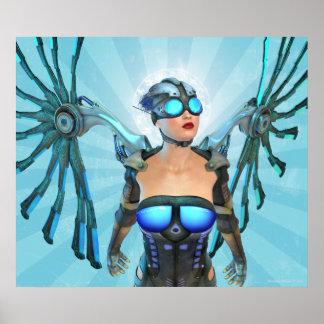 Mech Angel Surreal Art Poster