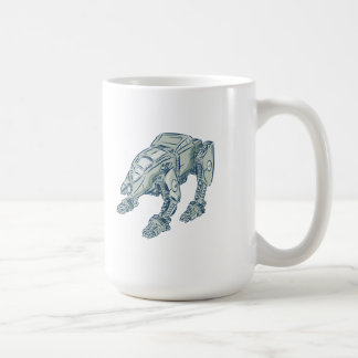 Mecha Bot High Angle Etching Classic White Coffee Mug