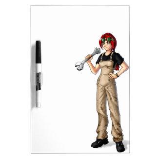 Mechanic Anime Girl Dry-Erase Board