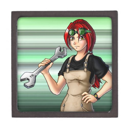 Mechanic Anime Girl Premium Trinket Boxes