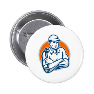 Mechanic Arms Crossed Spanner Retro Buttons