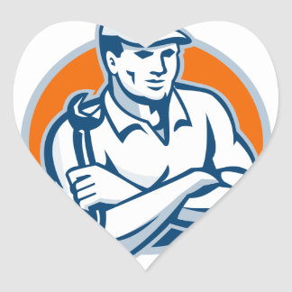 Mechanic Arms Crossed Spanner Retro Heart Sticker