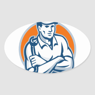 Mechanic Arms Crossed Spanner Retro Oval Sticker