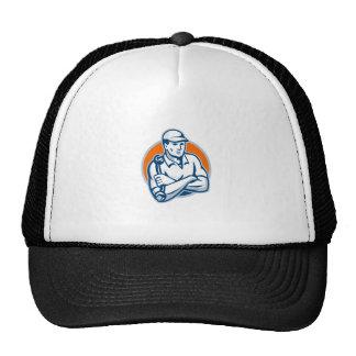 Mechanic Arms Crossed Spanner Retro Trucker Hat