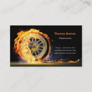 Mechanic business cards templates zazzle mechanic automotive wheel speed flame black business card colourmoves