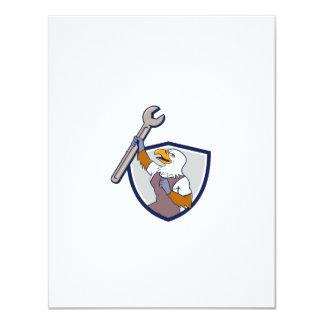 Mechanic Bald Eagle Spanner Crest Cartoon Card