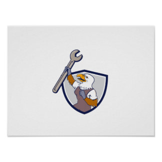 Mechanic Bald Eagle Spanner Crest Cartoon Poster