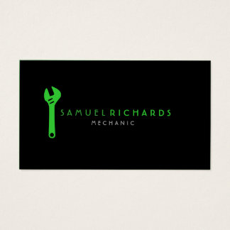 Mechanic Business Card Simple Wrench Silhouette