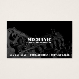 Mechanic Business Card w/ Engine Photo