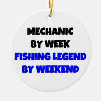 Mechanic by Day Fishing Legend by Weekend Double-Sided Ceramic Round Christmas Ornament