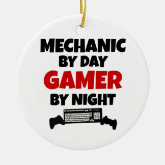 Mechanic by Day Gamer by Night Double-Sided Ceramic Round Christmas Ornament
