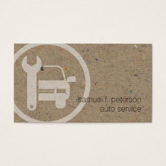 Mechanic Car Wrench Icon Natural Paper Texture Business Card