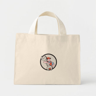 Mechanic Carry Spanner Wrench Circle Cartoon Canvas Bag