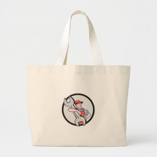 Mechanic Carry Spanner Wrench Circle Cartoon Tote Bag