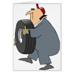 Mechanic Carrying A Tire Greeting Cards