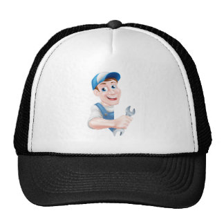 Mechanic Cartoon Man Plumber Trucker Hat